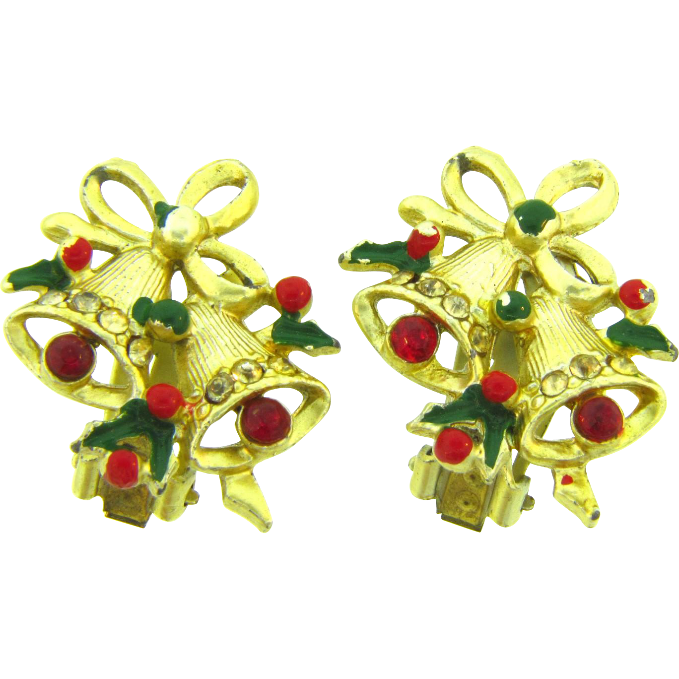 Vintage Christmas bell clip on Earrings