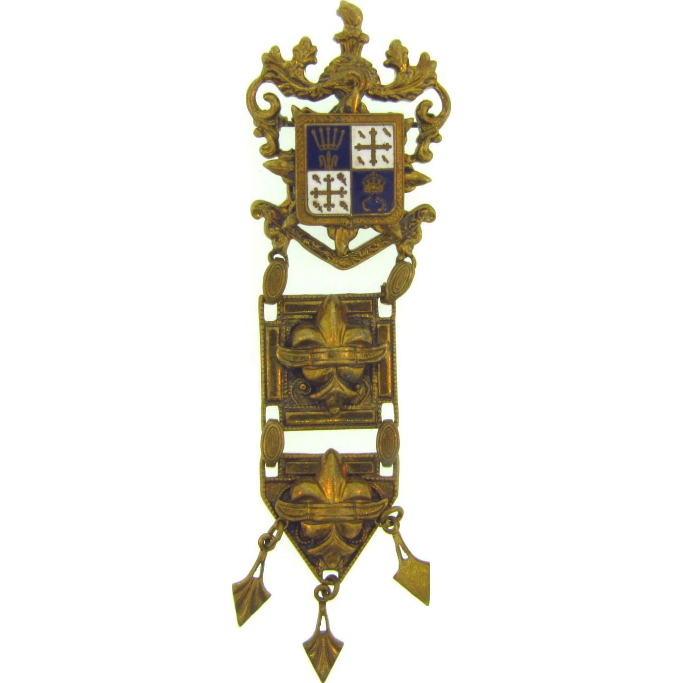 Unique vintage Brooch in a military medal design