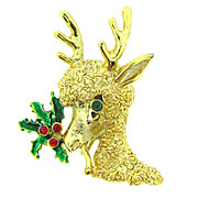 Signed Tancer II Christmas Brooch designed as a deer with holly