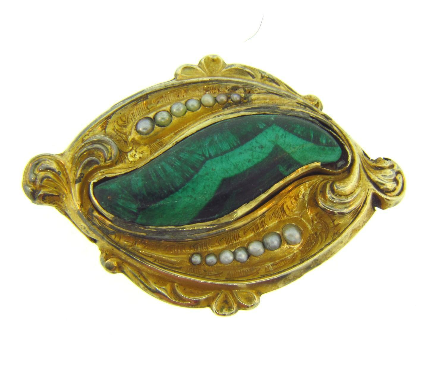 Early 1900's gold filled Brooch with malachite and seed pearls