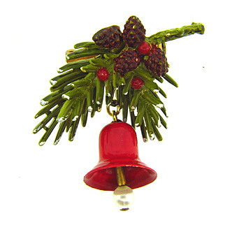 Signed Art Christmas Brooch with pine needle spray, pine cones and bell