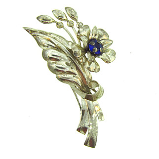 Marked sterling AT on the reverse large floral Brooch with rhinestones