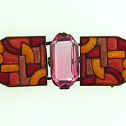 Marked Czecho-slovakia enamel Belt Buckle with pink glass stone
