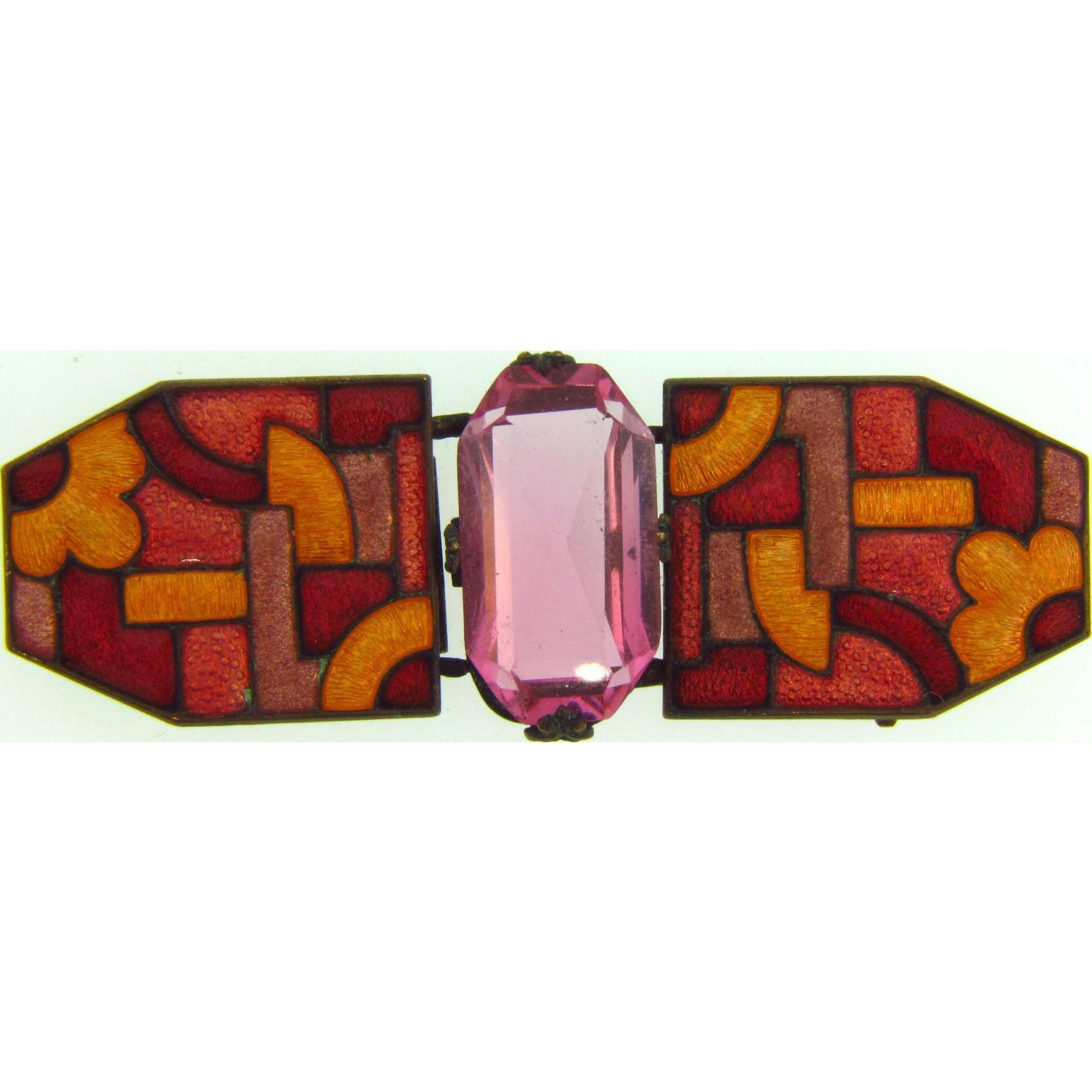 Marked Czecho-slovakia enamel Belt Buckle with pink glass stone