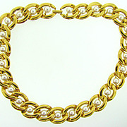 Signed Napier gold tone link choker Necklace with imitation pearls