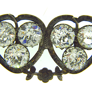Early silver double heart Brooch with crystal paste stones