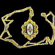 Large guilloiche gold tone framed Pendant Necklace