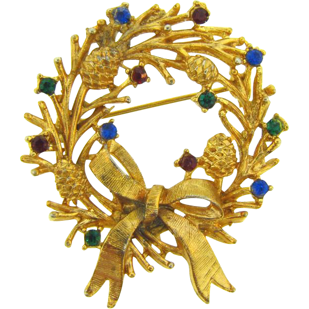 Signed LJM Christmas Wreath Brooch with rhinestones