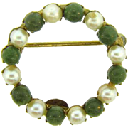 Signed Winard 12K gold filled scatter pin with pearl and jade beads