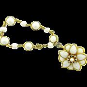 Vintage milk glass link pendant bracelet