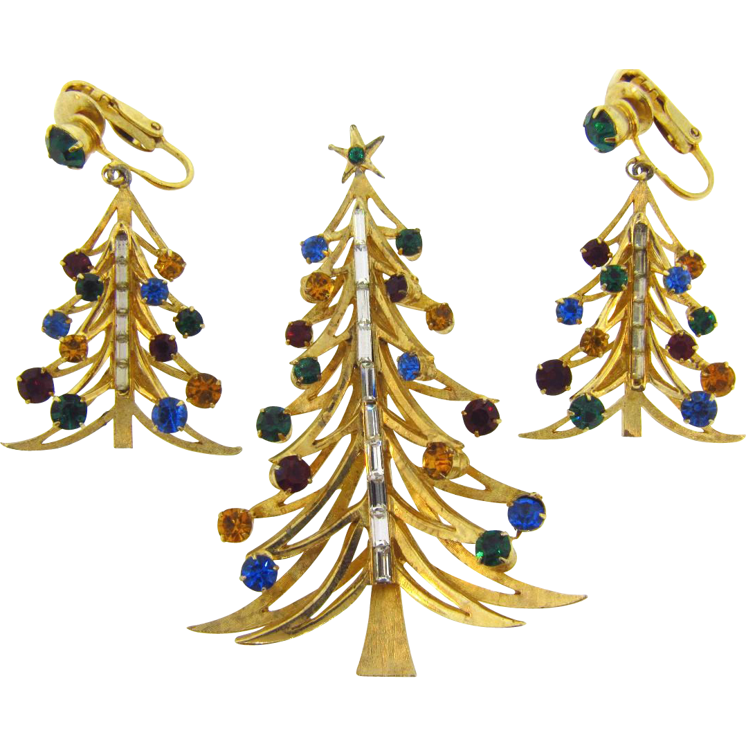 Signed Brooks Christmas tree brooch and matching clip on ...