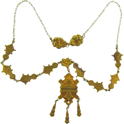 Early 1900's gold tone pendant Necklace