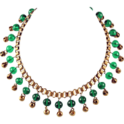 Beautiful Choker necklace Book chain with see thru green glass dangling balls