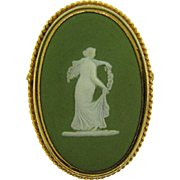 Wedgwood green jasperware Cameo Brooch