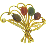 Vintage floral fan Brooch with semi precious stones