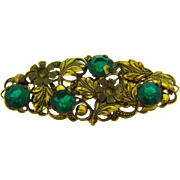 Marked Czechoslovakia  floral oval Brooch with emerald green glass stones