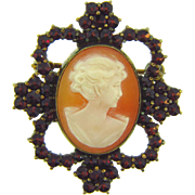 Marked 900 silver Cameo and Garnet Brooch