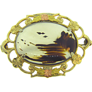 Vintage Moss Agate Brooch in gold filled frame