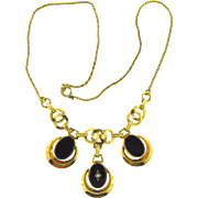Vintage 1950's choker necklace with three center dangling pendants