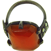 Art Deco Carnelian Ring with marcasites set in Sterling Silver