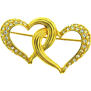 signed Swarovski double heart Brooch with rhinestones