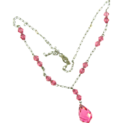Delicate choker length Briolette Necklace with pink crystal beads