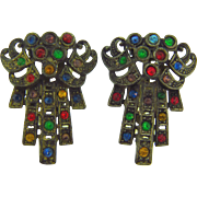 Art Deco 1940's dress clips matching pair with multicolored rhinestones