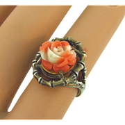 Carved coral rose ring in a bamboo silver tone setting size 6 1/2