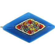 Small early plastic Scatter Pin with center floral mosaic