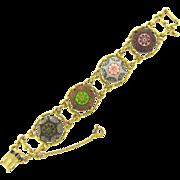 Lovely Moroccan glass cabochon link Bracelet