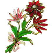 Gorgeous large 1940's pot metal floral Brooch with rhinestones and enamel