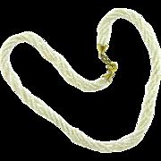 Petite 6 strand iridescent white Torsade choker Necklace