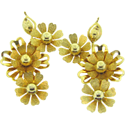 Signed Coro large floral clip on Earrings