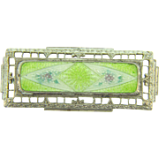 Early 1900's Brooch with guilloche enamel floral center