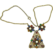1940's pot metal choker Necklace with colorful rhinestones and imitation pearls