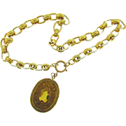 Vintage heavy choker Necklace with large filigree pendant