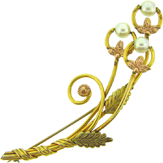Signed Van Dell 1/20 12kt gold filled floral spray Brooch with genuine pearls