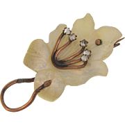 Lovely early 1900's's floral Mother of Pearl brooch with rhinestone topped stamens