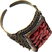 Marked China vermeil ring with carved flora cinnabar