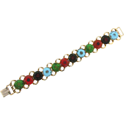 Multicolored Moroccan Matrix cabochon link Bracelet