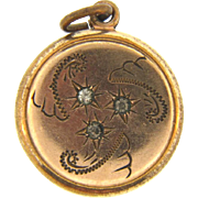 Vintage gold filled Fob with crystal paste stones