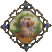 Charming courting couple on porcelain scene Brooch early 1900's with blue stones