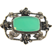 Marked sterling silver rectangular vintage Brooch with floral design and a large center chrysoprase stone