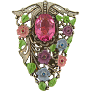 Vintage colorful silver tone 1940's Dress Clip
