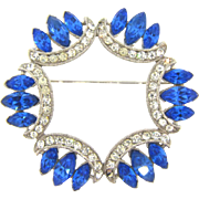 Elegant vintage rhinestone Brooch with crystal and blue stones