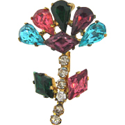 Marked Czechoslovakia small floral rhinestone Brooch