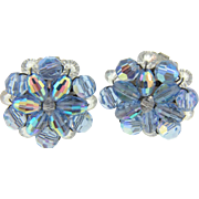 Vintage blue crystal bead clip on Earrings - Red Tag Sale Item
