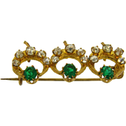 Cute small late 1800's Scatter Pin with crystal and green rhinestones