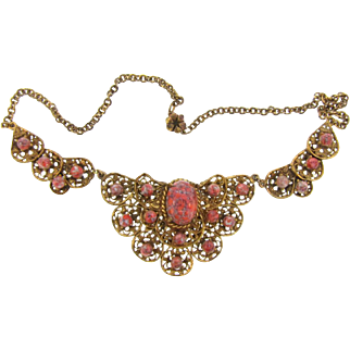 Gorgeous 3 part filigree gold tone choker Necklace with unusual art glass beads