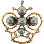 Large unique Crown Brooch with imitation tahitian pearls and crystal rhinestones